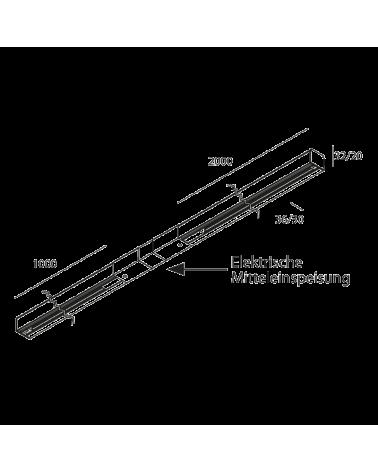 Carril universal 300cm monofásico color aluminio conector central