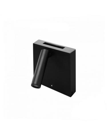 Aplique de pared acabado negro LED 4W Aluminio cargador movil USB e inducción 15,5cm 2700 k.