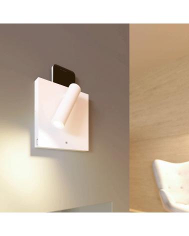 Aplique de pared acabado blanco LED 4W Aluminio cargador movil USB e inducción 15,5cm 2700 k.