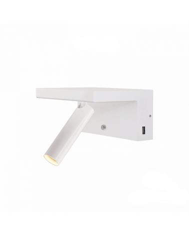 Aplique de pared acabado blanco LED 5W Aluminio doble cargador movil USB 2700 K.