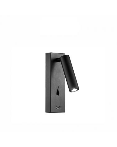 Aplique de pared acabado negro LED 4W Aluminio interruptor cargador movil USB 2700 K.