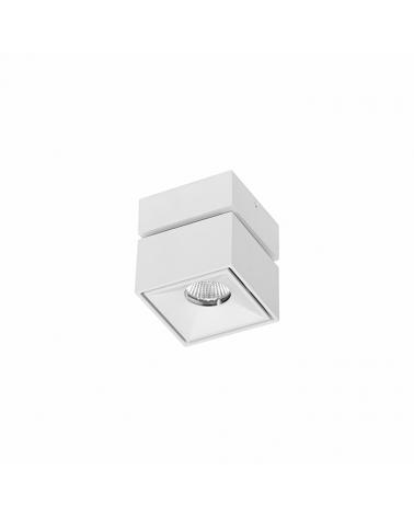 Foco cubo de pared y techo mini 7,5cm Basculante 90º acabado blanco LED 8W Aluminio 850 Lm.