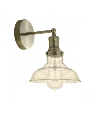 Aplique de 20cm de línea industrial campana de cristal y cuerpo en metal acabado cuero 1x60W E27