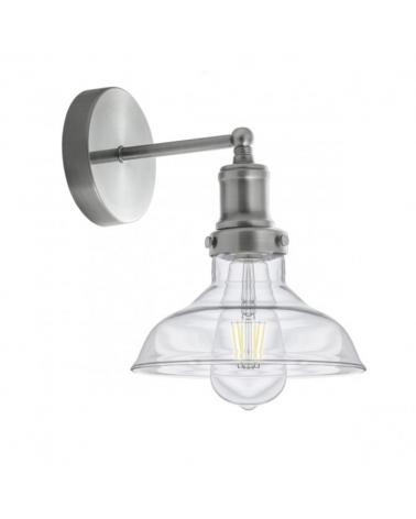 Aplique de 20cm de línea industrial campana de cristal y cuerpo en metal acabado níquel satinado 1x60W E27