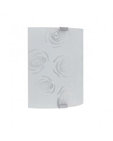 Aplique de cristal mate con rosa 21cm base color cuero 2x60W E27