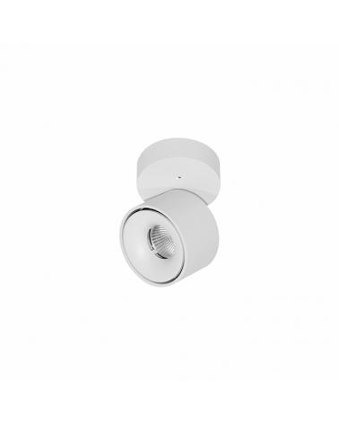 Foco cinlindro de pared y techo mini 7,5cm acabado blanco LED 8W Aluminio basculante 90º 850 Lm.