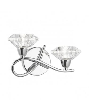 Aplique 21cm focos cruzados con difusor de cristal forma diamante acabado cromo 2 X 40W G9