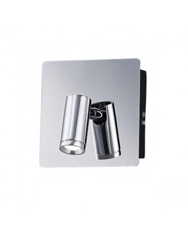 Aplique cuadrado acabado cromo con luz superior e inferior y foco orientable 2 X LED 3W 600LM 4000K