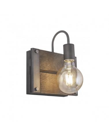 Aplique 23 cm con base de madera envejecida y remaches de metal 1 X 60W E-27