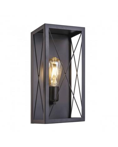 Aplique 36cm metal negro con estructura metal caja con cruz  1 X 60W E-27