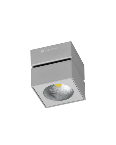 Foco cubo de pared y techo 10cm acabado gris LED 15W Aluminio basculante 90º 3000K 1255 Lm. 40º