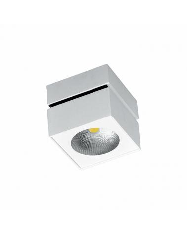 Foco cubo de pared y techo 10cm acabado gris LED 15W Aluminio basculante 90º 4000K 1321 Lm. 40º