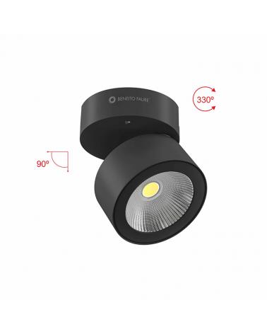 Foco cilindro de pared y techo 10cm acabado negro LED 14W Aluminio basculante 90º 1750 Lm. 40º