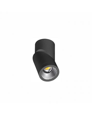 Foco cilindro de pared y techo 6cm acabado negro LED 7W Aluminio basculante 355º 4000 K. 830 Lm.