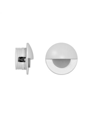 Señalizador redondo blanco 5cm Aluminio de interior con semicírculo LED 2W 3000K 60 Lm.