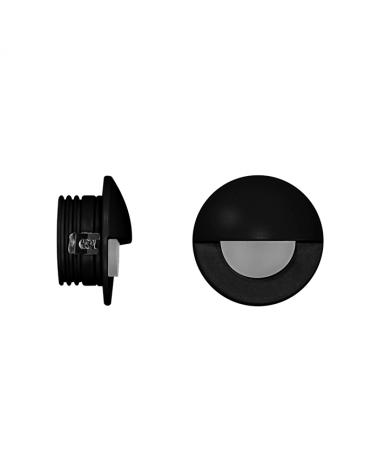 Señalizador redondo negro 5cm Aluminio de interior con semicírculo LED 2W 3000K 60 Lm.