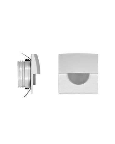 Señalizador cuadradro blanco 5cm Aluminio de interior con semicírculo LED 2W 3000K 60 Lm.