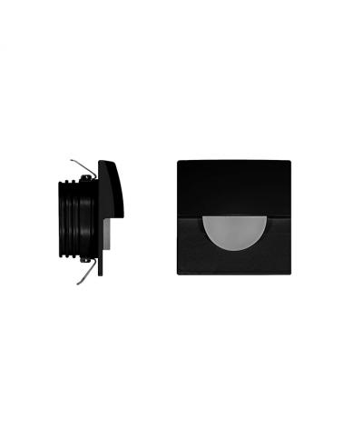 Señalizador cuadrado negro 5cm Aluminio de interior con semicírculo LED 2W 3000K 60 Lm.