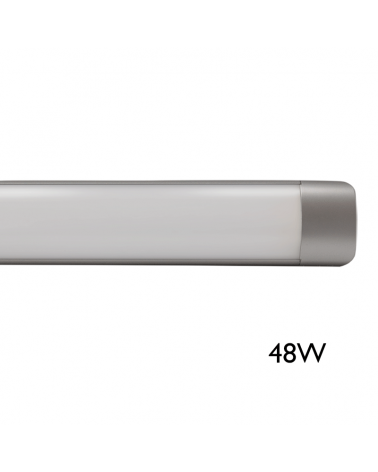 Pantalla LED 48W 120cms luz blanca 4000K alta luminosidad 5429Lm. acabado gris