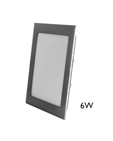Mini downlight cuadrado marco gris LED empotrable 6W de 9x9cm