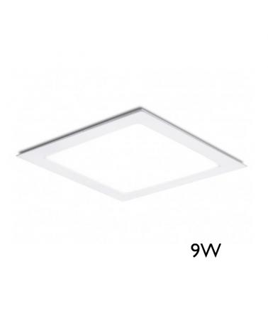Mini downlight cuadrado marco blanco LED empotrable 9W de 12x12cm