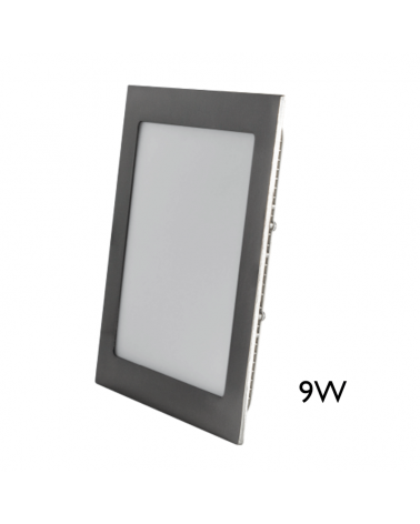 Mini downlight cuadrado marco gris LED empotrable 9W de 12x12cm