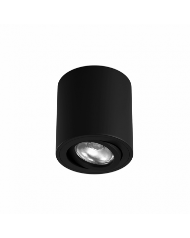 Foco cilindro de techo 8cm Aluminio acabado negro GU10  Basculante 45º