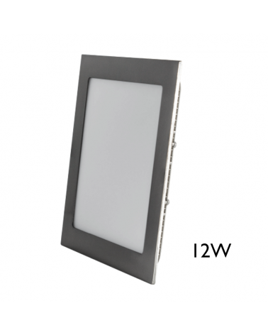 Mini downlight 17x17cm cuadrado marco gris LED empotrable 12W