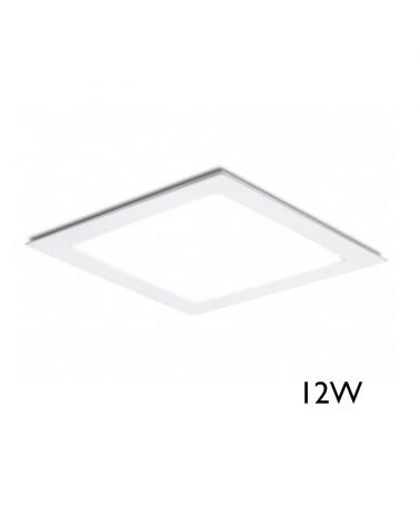 Mini downlight cuadrado marco blanco LED empotrable 12W de 17x17cm