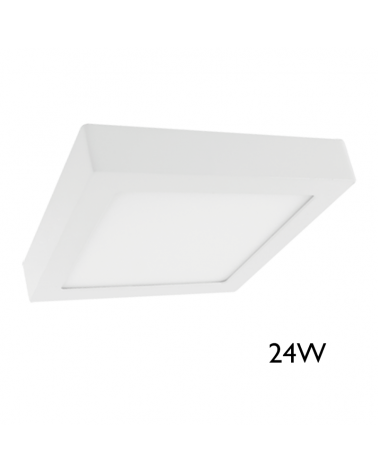 Downlight 30x30cm cuadrado de superficie marco blanco 24W LED