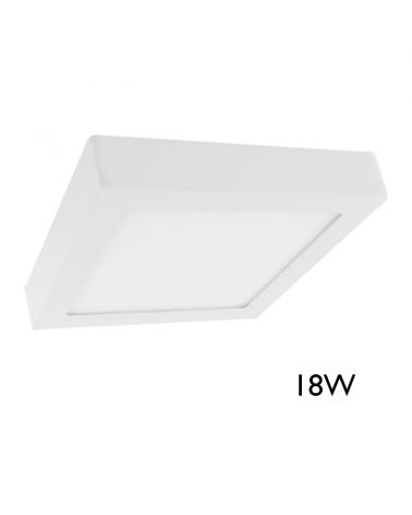 Downlight 22,5x22,5cm cuadrado de superficie marco blanco 18W LED