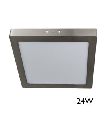 Downlight  30x30cm cuadrado de superficie marco gris 24W LED
