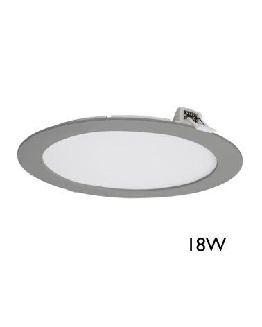 Downlight  empotrable extraplano 23cm color gris 18W LED