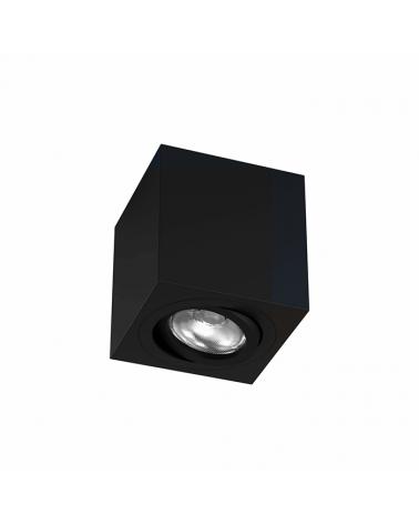 Foco cúbico de techo 8cm Aluminio acabado negro GU10  Basculante 45º