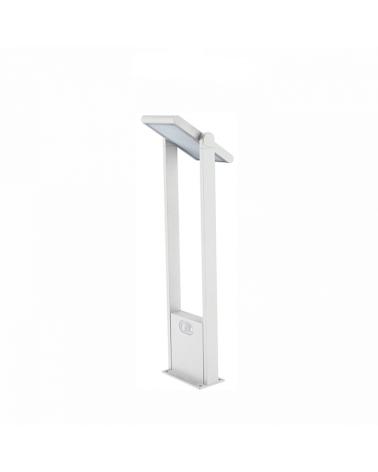 Baliza solar de 60cm de altura Aluminio acabado blanco sensor movimiento encendido automático dia/noche LED 1,6W 4000K