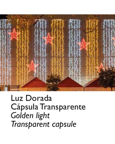 Guirnalda 12m y 180 LEDs dorados, cápsula clara, empalmable, IP65 apta para exterior