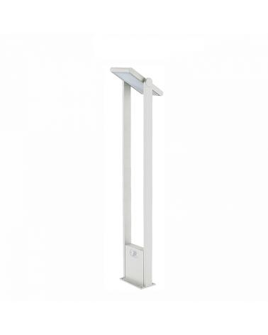 Baliza solar de 100cm de altura Aluminio acabado blanco sensor movimiento encendido automático dia/noche LED 1,6W 4000K
