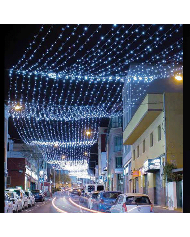 Techo de luz 30m 792 LEDs blancos cable negro Flashing  IP65 apto para exteriores