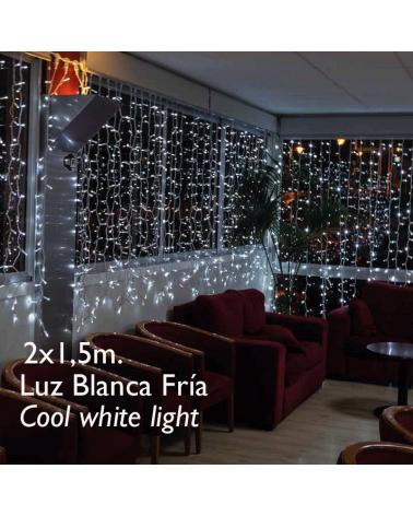 Cortina LED 2x1,5m Leds blancos, cable blanco, cápsula clara, empalmable y apta para exteriores IP65
