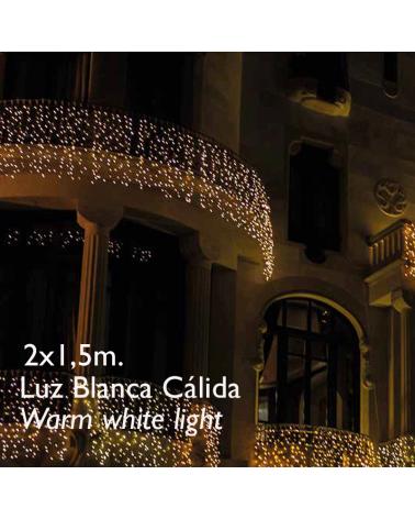 Cortina LED 2x1,5m Leds blanco cálido, cápsula clara, empalmable y apta para exteriores IP65