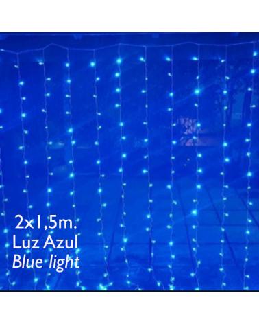 Cortina LED 2x1,5m Leds azul, cápsula clara, empalmable y apta para exteriores IP65