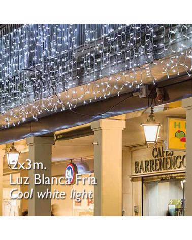 Cortina LED 2x3m Leds blancos, cable blanco, cápsula clara, empalmable y apta para exteriores IP65