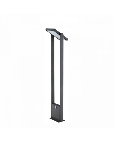 Baliza solar de 60cm de altura Aluminio acabado negro sensor movimiento encendido automático dia/noche LED 1,6W 4000K