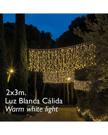 Cortina LED 2x3m Leds blanco cálido, cápsula clara, empalmable y apta para exteriores IP65
