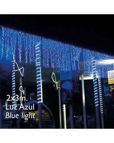 Cortina LED 2x3m Leds azul, cápsula clara, empalmable y apta para exteriores IP65