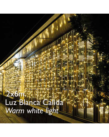 Cortina LED 2x6m Leds blanco cálido, cápsula clara, empalmable y apta para exteriores IP65