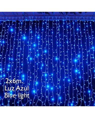 Cortina LED 2x6m Leds azul, cápsula clara, empalmable y apta para exteriores IP65