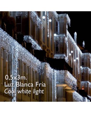 cortina de leds blanco frío 3x0,5m efecto hielo, con 114 leds ip65 apta para exterior