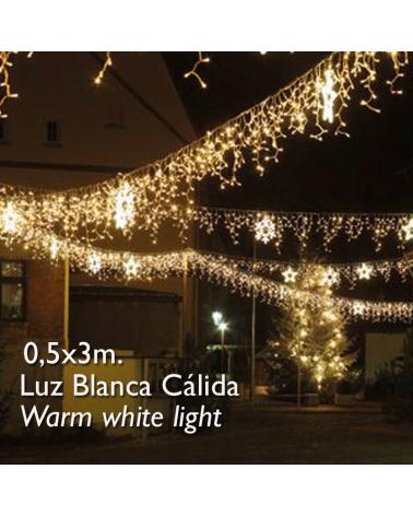 cortina de leds blanco cálido 3x0,5m efecto hielo, con 114 leds ip65 apta para exterior