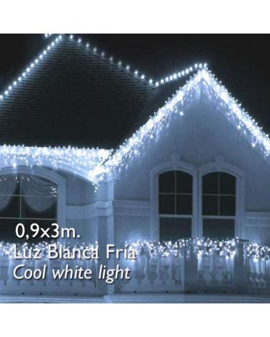 cortina de leds blanco frio 3x0,9m efecto hielo, con 174 leds ip65 apta para exterior
